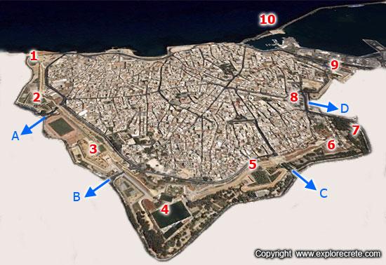 heraklion walls map
