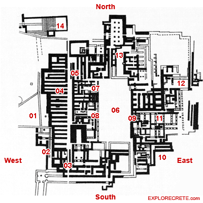 map of Knossos Palace
