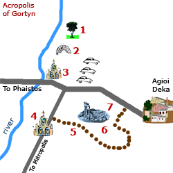 map of Gortys archaeological site