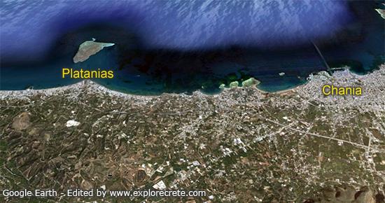 Δορυφορικός χάρτης πλατανιας