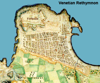 map of Fortezza and Rethymnon in Venetian period
