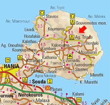 χαρτης με τη μονη γουβερνετου στη χερσονησο ακρωτηρι στην κρητη