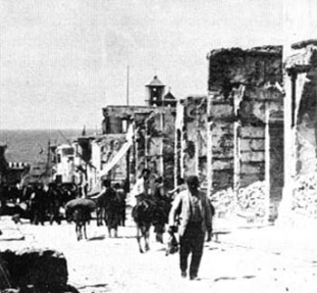 The street of 25th of August after the massacre in Heraklion