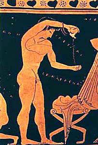 Een jongeman die zijn lijf reinigt met olijfolie in het oude Griekenland