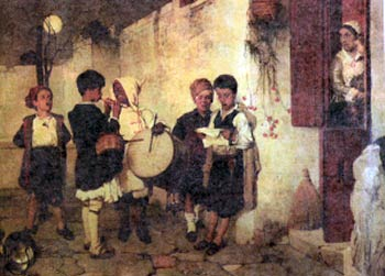 Painting by Nikiforos Lytras with children singing the Christmas carols