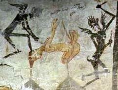 Καλικάντζαροι, βυζαντινή τοιχογραφία